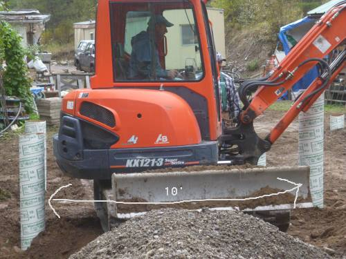 Mini excavator - it's 10' between the sonotubes