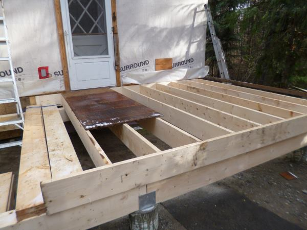 All the joists for the mudroom are in place