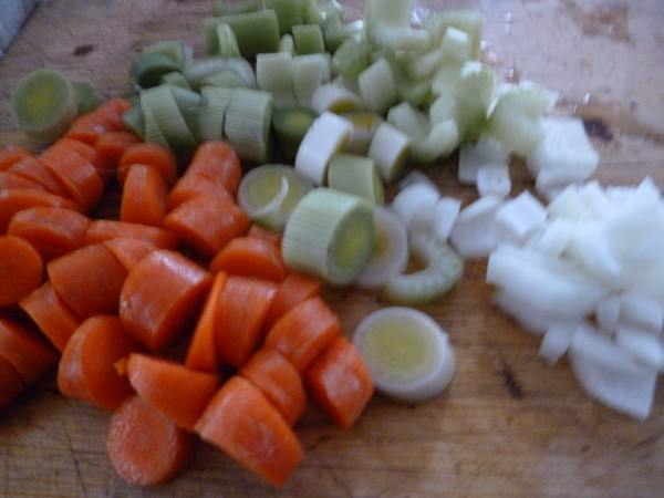 chopped up vegetables are sauteed first...