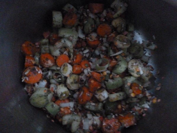 vegetable flakes and mixed lentils and other grains are added...