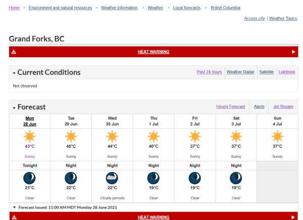 Weather Forecast showing a heat wave