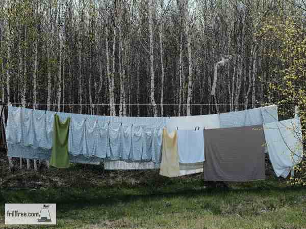 Sheets drying on a clothesline