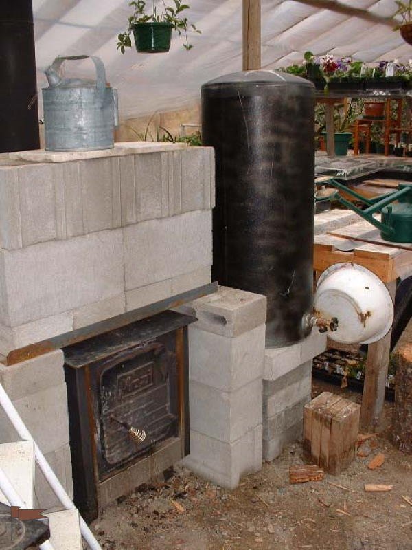 The hot water tank also maintains warmth