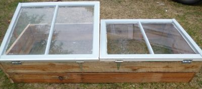 Recycled hinges hold the windows on to the base