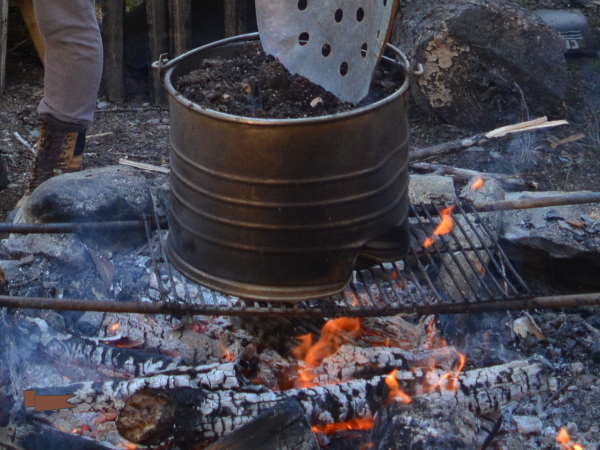Pasteurizing Soil over a fire