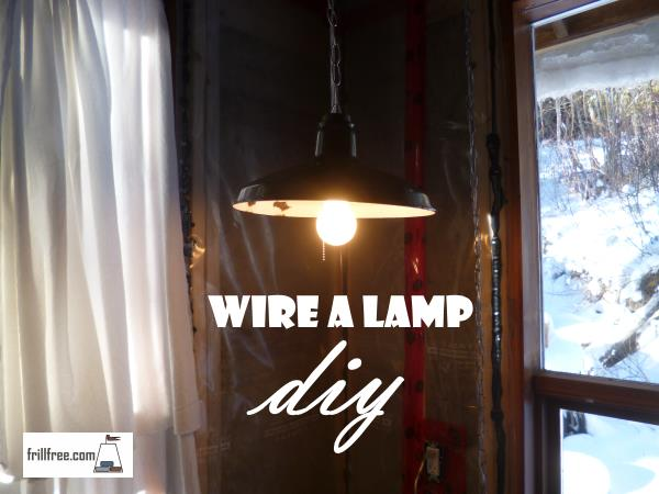 The finished swag lamp, ready to read by