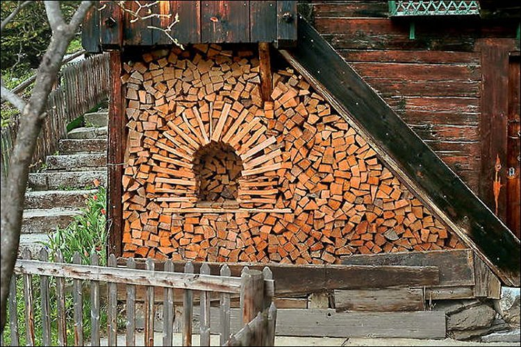 Wood stacked to emulate a brick oven - what else?