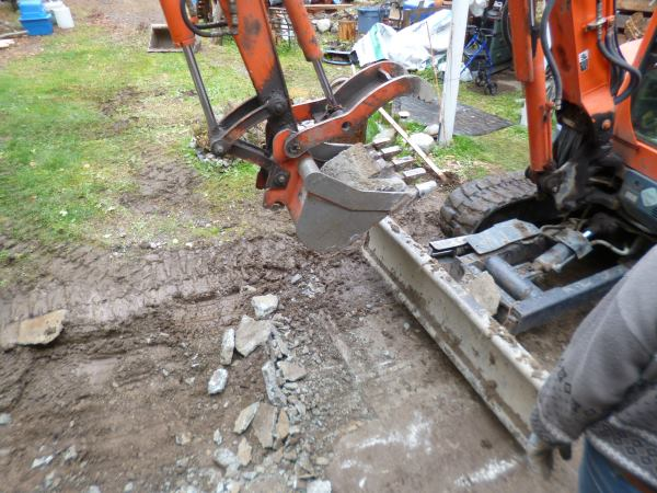 Breaking up a concrete pad