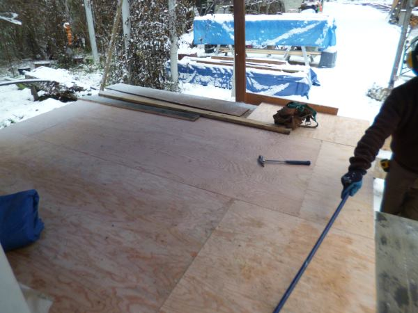 Plywood tongue and groove floor