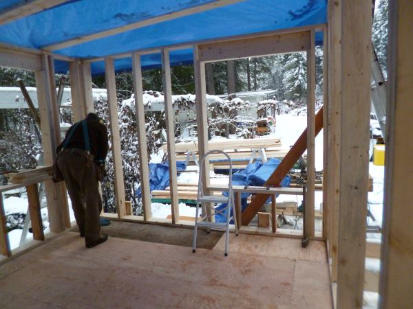 Note the window hole already framed in