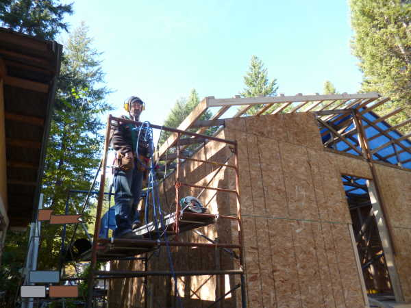 A fascia board along the edges of the trusses, and along the strapping holds it all together