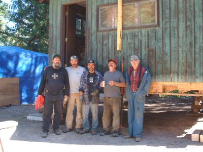 The hardworking crew after a good day hauling the building on site...