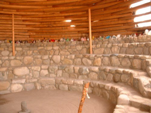 The Grand Kiva at the Sanctuary is built underground, using an unusual technique of building the stone walls right in place